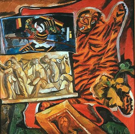 Natalija Gontscharowa: Stilleben mit Tigerfell, 1908, Öl auf Leinwand, 140 x136,5 cm, Köln, Museum Ludwig, ML 01305