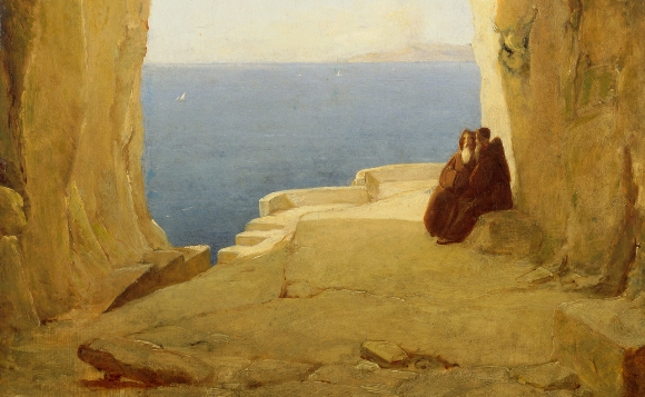Karl Blechen, Grotte am Golf von Neapel (Ausschnitt), um 1830, Öl auf Eichenholz, 37,5 x 29 cm, Wallraf-Richartz-Museum & Fondation Corboud, Koeln, WRM 2603,